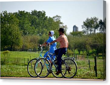 Amish Bike Ride Canvas Print by Jeffrey Platt