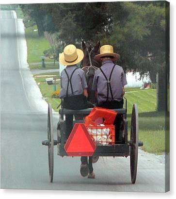 Amish Boys On A Ride Canvas Print by Lori Seaman