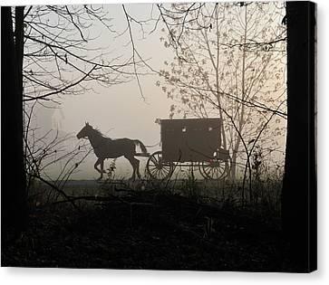 Amish Buggy Foggy Sunday Canvas Print by David Arment
