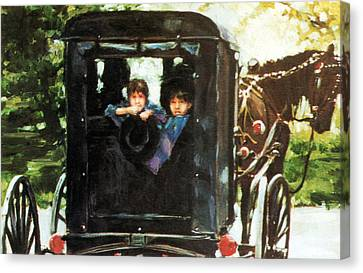 Amish Buggy Canvas Print by Linda Crockett