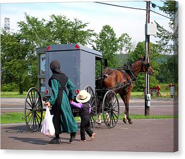 Amish Mother And Son Canvas Print by George Jones