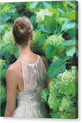 Among The Hydrangeas Study  Canvas Print by Anna Rose Bain