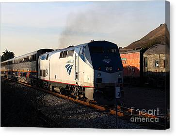 Amtrak Trains At The Niles Canyon Railway In Historic Niles District California . 7d10856 Canvas Print by Wingsdomain Art and Photography