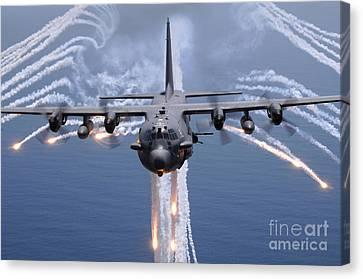 An Ac-130h Gunship Aircraft Jettisons Canvas Print by Stocktrek Images