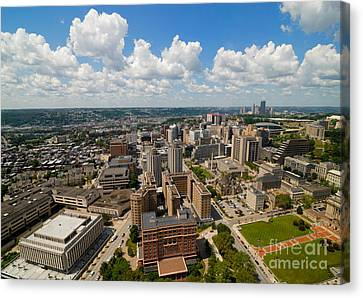 An Aerial View Of Oakland Neighborhood Of Pittsburgh Canvas Print by Amy Cicconi