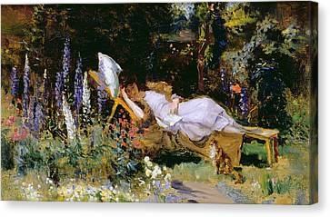 An Afternoon Nap Canvas Print by Harry Mitten Wilson