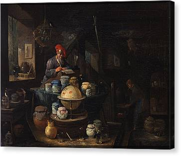 An Alchemist In His Study Canvas Print by Egbert van Heemskerck