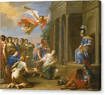 An Allegory Of The Victory Of Peace Over War. Peace And Justice Presenting The Nine Muses To Minerva Canvas Print by French School
