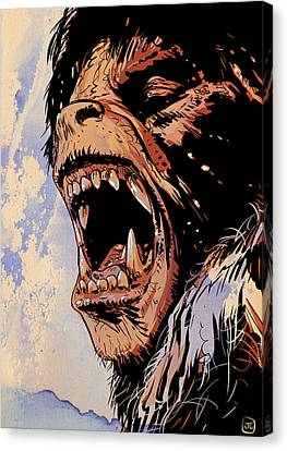 An American Werewolf In London Canvas Print by Giuseppe Cristiano