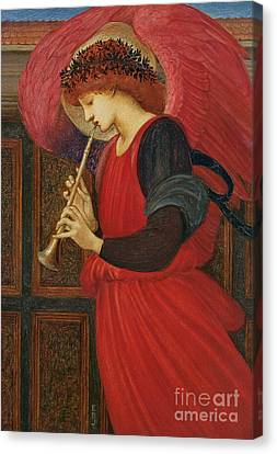An Angel Playing A Flageolet Canvas Print by Sir Edward Burne-Jones