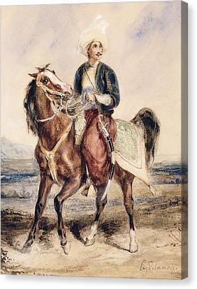 An Arab Warrior On Horseback In A Landscape Canvas Print by Ferdinand Victor Eugene Delacroix