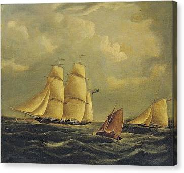 An Armed Brig And Cutter In The Channel Canvas Print by James Edward