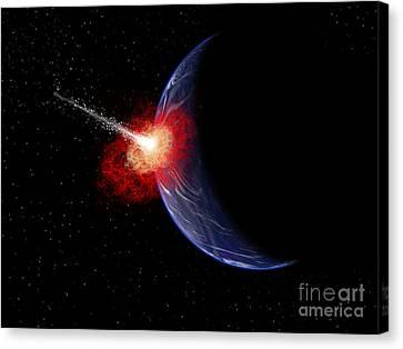 An Asteroid Hitting Planet Earth Canvas Print by Mark Stevenson