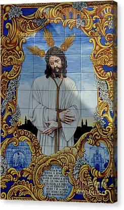 An Azulejo Ceramic Tilework Depicting Jesus Christ Canvas Print by Sami Sarkis