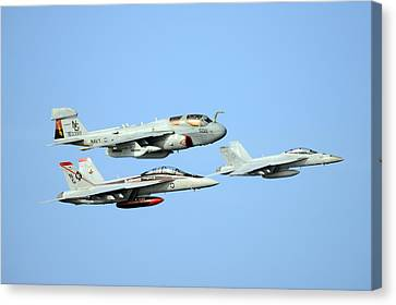 An Ea-6b Prowler And Two F A-18f Super Hornets Us Navy Canvas Print by Celestial Images