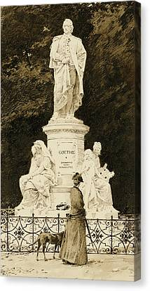 An Elegant Lady At The Statue Of Goethe Canvas Print by Paul Fischer