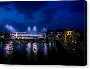 An Evening At Pnc Park, Pittsburgh, Pennsylvania Canvas Print by Joseph Heh