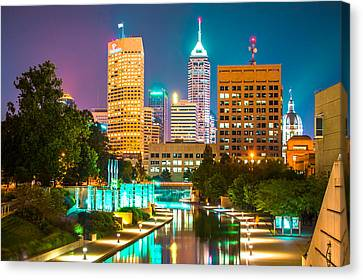 An Evening In Indianapolis Canvas Print by Gregory Ballos