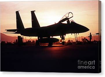 An F-15c Eagle Aircraft Silhouetted Canvas Print by Stocktrek Images