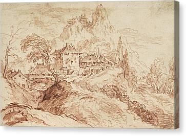 An Italian Village In A Mountainous Landscape Canvas Print by Francois Boucher