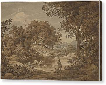 An Italianate Landscape With Shepherds Canvas Print by Friedrich Preller The Elderl