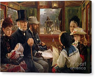 An Omnibus Ride To Piccadilly Circus, Mr Gladstone Travelling With Ordinary Passengers Canvas Print by Alfred Morgan