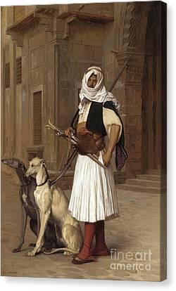 Anaute Avec Deux Chiens Whippets, 1867 Canvas Print by Jean Leon Gerome