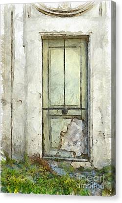 Ancient Doorway Rome Italy Pencil Canvas Print by Edward Fielding