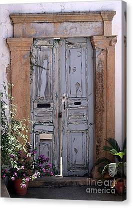 Ancient Garden Doors In Greece Canvas Print by Sabrina L Ryan