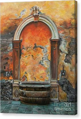 Ancient Italian Fountain Canvas Print by Charlotte Blanchard