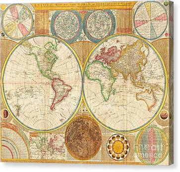Ancient Map World In Hemispheres Canvas Print by Pg Reproductions