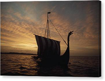 Ancient Vikings Sailed In Vessels Much Canvas Print by Ted Spiegel