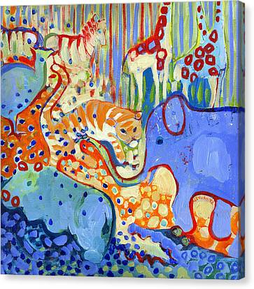 And Elephant Enters The Room Canvas Print by Jennifer Lommers