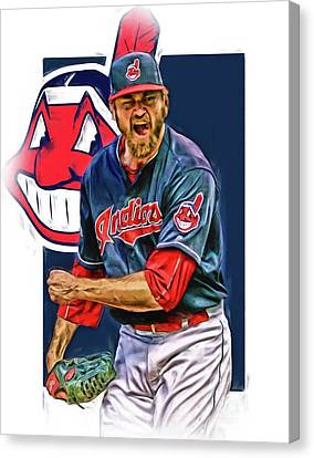Andrew Miller Cleveland Indians Oil Art Canvas Print by Joe Hamilton