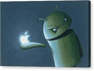 Android Vs Apple Canvas Print by Jasper Oostland