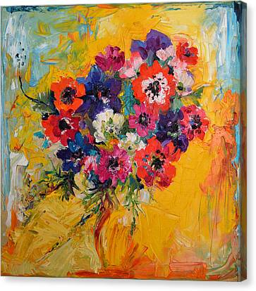 Anemones Bouquet, Floral Painitng, Flowers, Oil Painting Canvas Print by Soos Roxana Gabriela