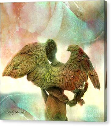 Angel Art Dreamy Surreal Whimsical Angel Art Wings Print - Impressionistic Angel Art Canvas Print by Kathy Fornal