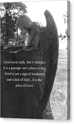 Angel At Grave - Mourning Angel, Sad Angel Art, Grieving Cemetery Angel Decor - The Price Of Love Canvas Print by Kathy Fornal