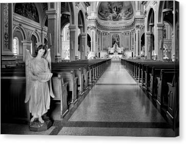 Angel - Catholic Church - Chicago - Black And White Canvas Print by Nikolyn McDonald