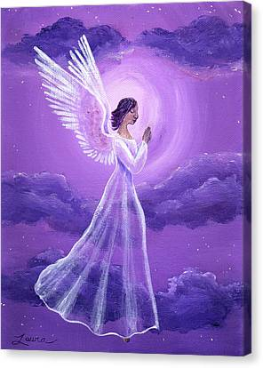 Angel In Amethyst Moonlight Canvas Print by Laura Iverson