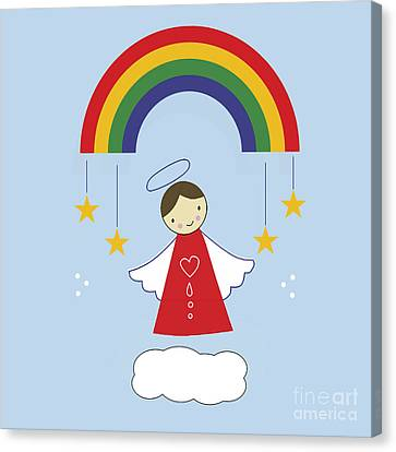 Angels And Rainbows Canvas Print by Kathrin Legg