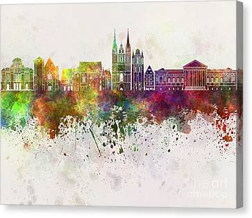Angers Skyline In Watercolor Background Canvas Print by Pablo Romero