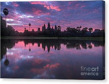 Angkor Wat Sunrise Canvas Print by Mike Reid