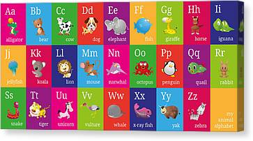 Animal Alphabet Canvas Print by Michael Tompsett