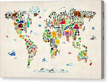 Cartoon Canvas Print featuring the digital art Animal Map Of The World For Children And Kids by Michael Tompsett