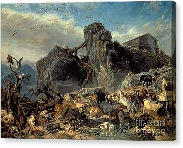 Animals Leaving The Ark, Mount Ararat  Canvas Print by Filippo Palizzi