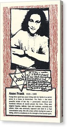 Anne Frank Canvas Print by Ricardo Levins Morales