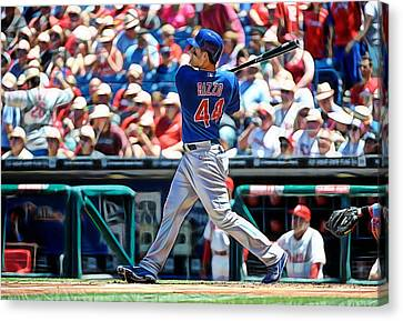 Anthony Rizzo Canvas Print by Marvin Blaine