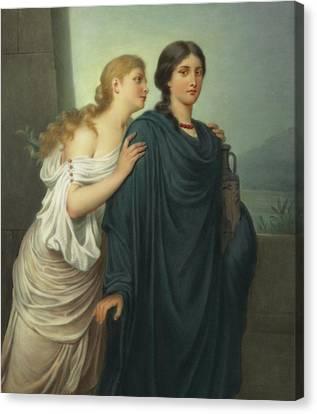 Antigone And Ismene Canvas Print by Emil Teschendorff