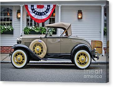 Ford Model A Antique Car Under Patriotic Bunting Canvas Print by Mark Roger Bailey